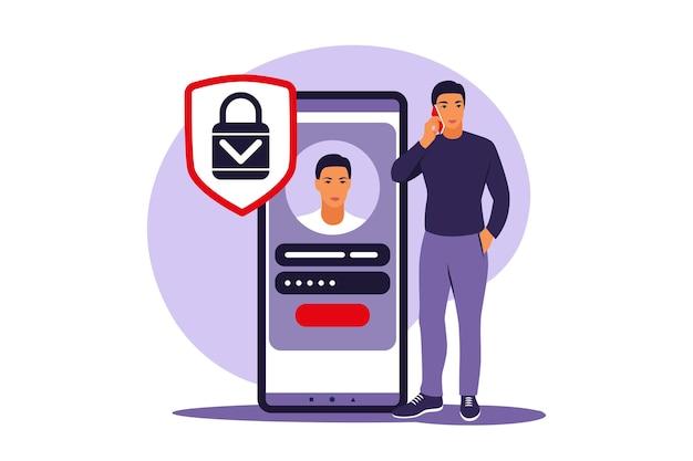 Zarejestruj się koncepcja. młody mężczyzna rejestruje się lub loguje do konta online w aplikacji na smartfony. bezpieczny login i hasło. ilustracja wektorowa. mieszkanie.