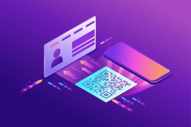 Zarejestruj się na stronie za pomocą kodu qr, użytkownik wchodzi na stronę internetową pracującą z interfejsem, dostęp do konta, izometryczny 3d, fioletowy gradient