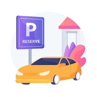 Zarezerwuj miejsce parkingowe dla ilustracji abstrakcyjnej koncepcji odbioru krawężnika. wejście klienta, stacja odbioru, przyjazd klientów, ochrona pracowników, mała firma