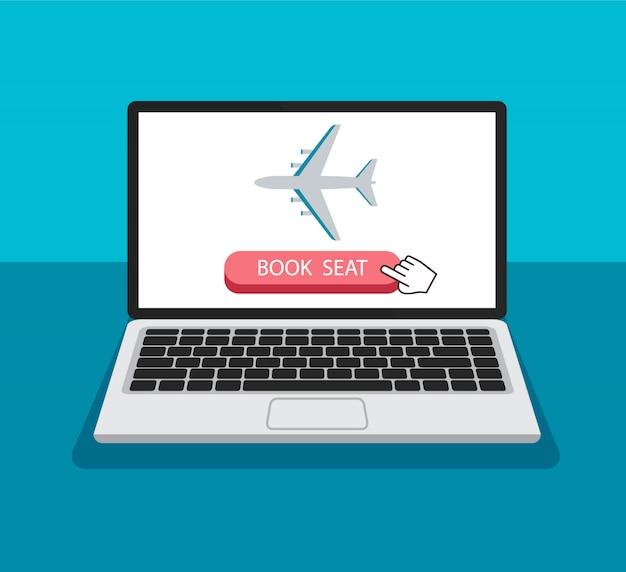Zarezerwuj miejsce w samolocie online. kursor klika i naciska przycisk. kupowanie biletu lotniczego. podróżuj baner internetowy w modnym stylu. koncepcja technologii.