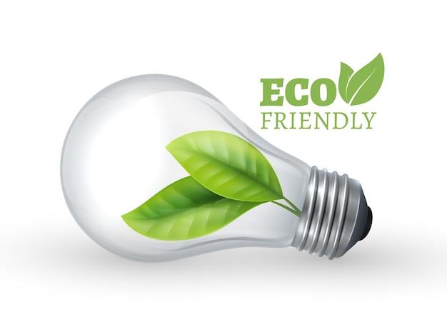 Żarówka eco. ekologiczna szklana żarówka z zielonym liściem w środku. lampa wektor na białym tle. ilustracja eko energia zielona, energia elektryczna odnawialna
