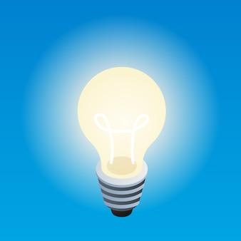 Żarówka eco light, izometryczny styl