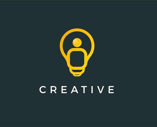 Żarówka. kreatywny pomysł, umysł, niestandardowe myślenie logo.