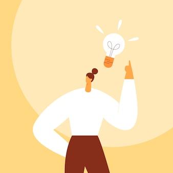 Żarówka nad głową kobiety. koncepcja biznesowa tworzenia nowych dobrych pomysłów lub myśli. postać z kreskówki, biznesmen.