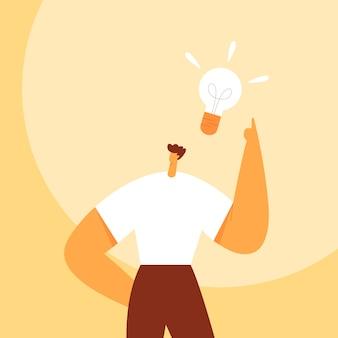 Żarówka nad głową mężczyzny. koncepcja biznesowa tworzenia nowych dobrych pomysłów lub myśli. postać z kreskówki mężczyzna, biznesmen. płaska ilustracja.