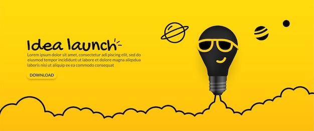 Żarówka okulary przeciwsłoneczne wystrzeliwuje w kosmos na żółtym tle