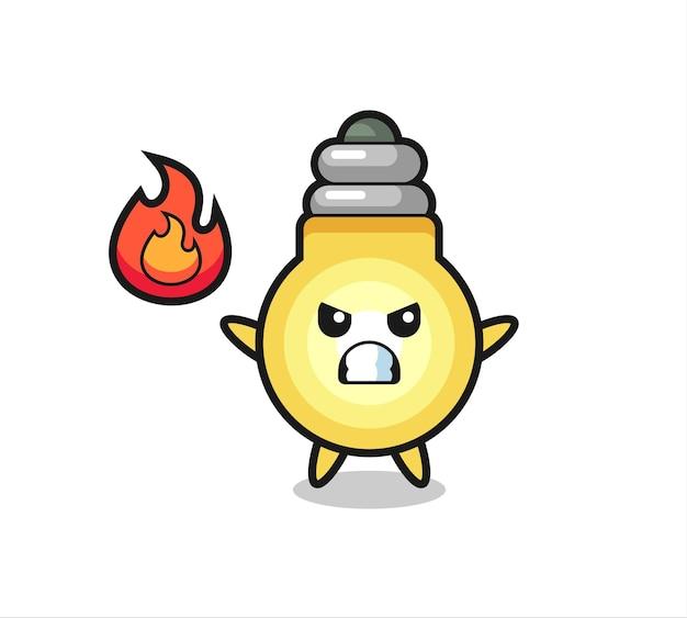 Żarówka postać z kreskówki z gniewnym gestem, ładny styl na koszulkę, naklejkę, element logo