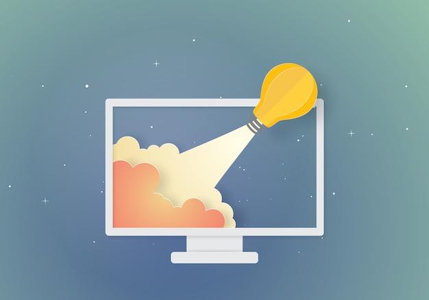 Żarówka rakieta koncepcja inspiracji biznesu