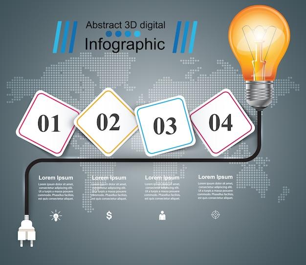 Żarówka, światło - papierowy biznesowy infographic szablon