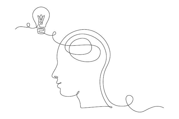 Żarówka w głowie w jednym rysunku linii dla logo, godła, banera internetowego, prezentacji. prosta linearna koncepcja pomysłu i wyobrażenia. ilustracja wektorowa