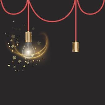 Żarówka w stylu retro na ciemnym podłożu świecąca żarówka w realistycznym stylu