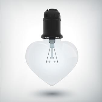 Żarówka z koncepcją plastikowej podstawy w kształcie serca w realistycznym stylu na białym tle