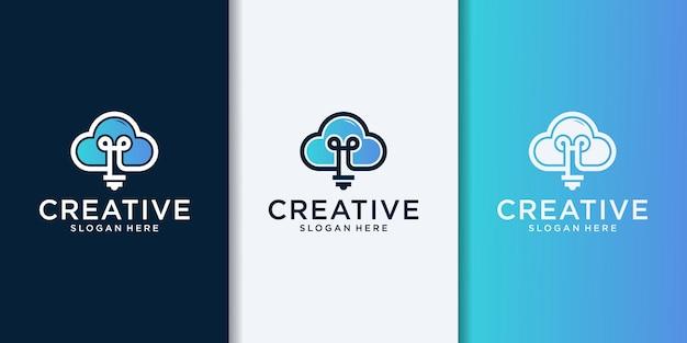 Żarówka z konturem chmury prosty elegancki nowoczesny wektor projektowania logo