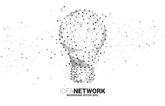 Żarówka z linii wielokątnych wireframe połącz kropkę kula geometryczna na białym tle. koncepcja pomysł na biznes i kreatywność.