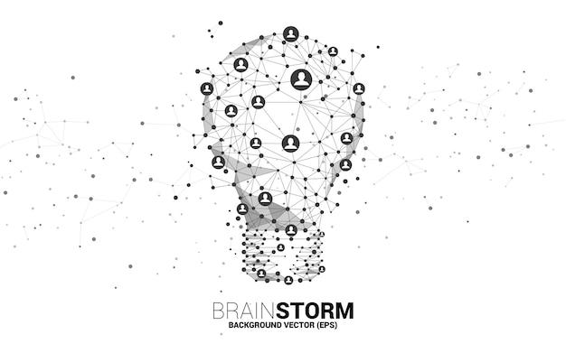 Żarówka z wielokątnych linii szkieletowych połącz kropkę geometryczny z ikoną ludzi. koncepcja pomysłu na biznes i burzy mózgów.