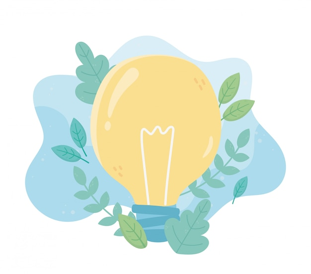 Żarówki energii zieleni ulistnienia środowiska ekologia