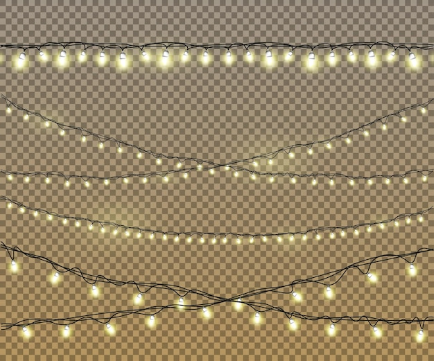 Żarówki ustawione na na białym tle ze świecącymi złotymi żółtymi światłami