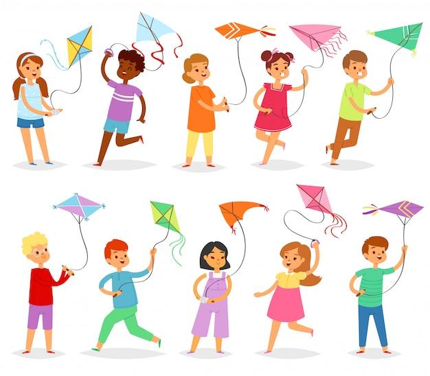 Żartuje kani dziecka charakteru chłopiec lub dziewczyny bawić się i dziecięcej kiteflying aktywność ilustracyjny ustawiający dzieci z latawcami gemowymi na białym tle