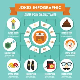 Żarty infografika koncepcja, płaski