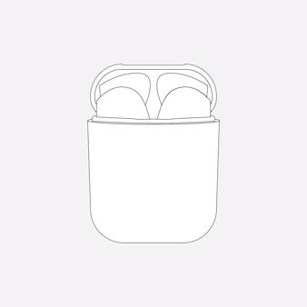 Zarys airpods, biała obudowa, ilustracja wektorowa urządzenia rozrywkowego