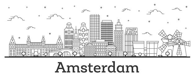 Zarys amsterdam holandia panoramę miasta z zabytkowymi budynkami na białym tle. ilustracja wektorowa. amsterdam gród z zabytkami.