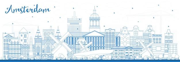 Zarys amsterdam holland city skyline z niebieskimi budynkami. ilustracja wektorowa. podróże służbowe i koncepcja turystyki z zabytkową architekturą. amsterdam holandia gród z zabytkami.