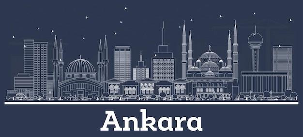 Zarys ankara turcja panoramę miasta z białymi budynkami. ilustracja wektorowa. podróże służbowe i koncepcja turystyki z zabytkową architekturą. ankara gród z zabytkami.