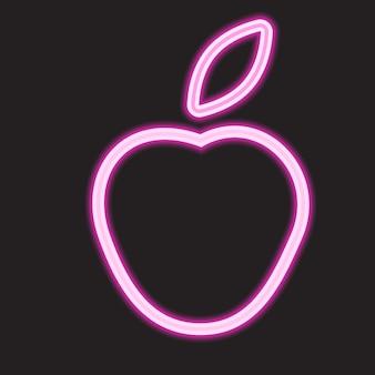 Zarys apple w stylu neonowym. prosta ikona dla stron internetowych, projektowanie stron internetowych, aplikacji mobilnych, infografiki.
