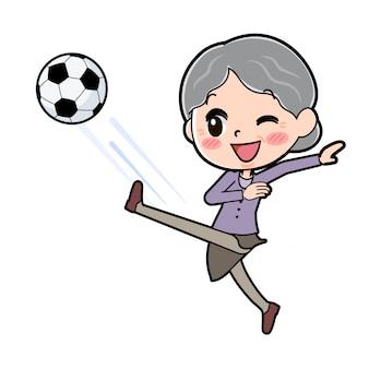 Zarys babci grającej w piłkę nożną