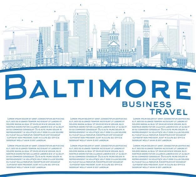 Zarys baltimore skyline z niebieskimi budynkami i przestrzenią do kopiowania. ilustracja wektorowa. podróże służbowe i koncepcja turystyki z nowoczesną architekturą. obraz banera prezentacji i witryny sieci web.