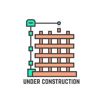 Zarys budynku w budowie. pojęcie strony nie znaleziono informacji, pejzaż miejski, maszyna, mieszkanie, inżynier, wzrost, budowa. płaski trend nowoczesny projekt logo wektor ilustracja na białym tle