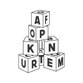 Zarys budynku wieża z literami do kolorowania. alfabet cegieł ilustracja na białym tle.