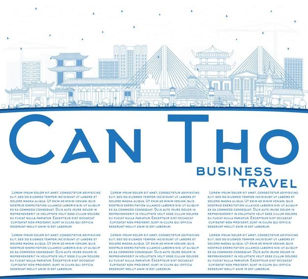 Zarys can tho vietnam city skyline z niebieskimi budynkami i przestrzenią do kopiowania. ilustracja wektorowa. podróże służbowe i koncepcja turystyki z zabytkową architekturą. can tho pejzaż miejski z zabytkami