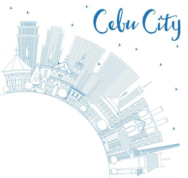 Zarys cebu city filipiny skyline z niebieskimi budynkami i miejsca kopiowania. ilustracja wektorowa. podróże służbowe i turystyka ilustracja z nowoczesną architekturą.