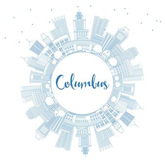 Zarys columbus skyline z niebieskimi budynkami i przestrzenią do kopiowania. ilustracja wektorowa. podróże służbowe i koncepcja turystyki z nowoczesną architekturą. obraz banera prezentacji i witryny sieci web.