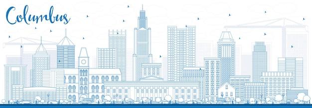 Zarys columbus skyline z niebieskimi budynkami. ilustracja wektorowa. podróże służbowe i koncepcja turystyki z nowoczesną architekturą. obraz banera prezentacji i witryny sieci web.
