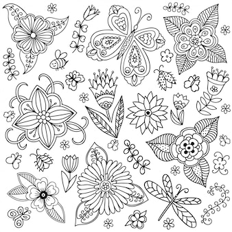 Zarys dekoracyjne ręcznie rysowane kwiaty i rośliny w doodle dziecinna styl