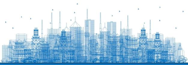 Zarys drapaczy chmur i budynków w kolorze niebieskim. ilustracja wektorowa. koncepcja podróży służbowych i turystyki. obraz do prezentacji, banera, plakatu i witryny internetowej