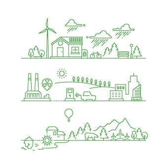 Zarys ekologiczne miasto. przyszłe ekologiczne środowisko zielone i koncepcja wektora ekosystemu