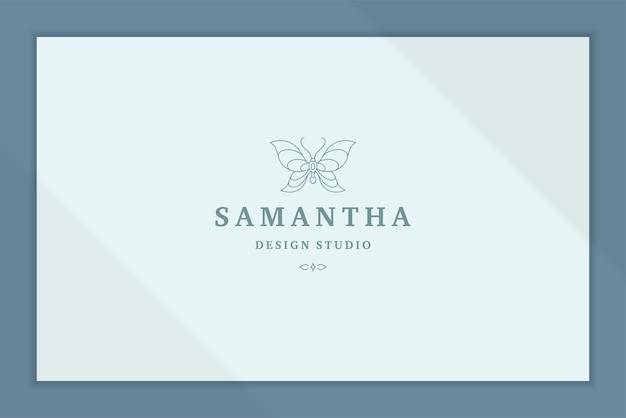 Zarys graficzne logo eleganckiego stylu linii motyla