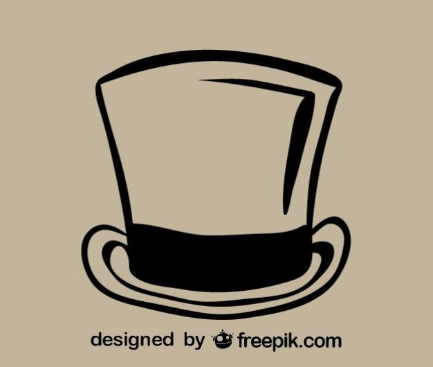 Zarys ikona kapelusz retro
