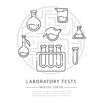 Zarys ikony, okrągły skład - kolby laboratoryjne, miarka i probówki do diagnozy, eksperyment naukowy.