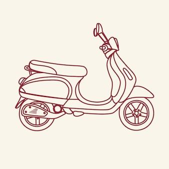 Zarys ilustracji starej szkoły skutera