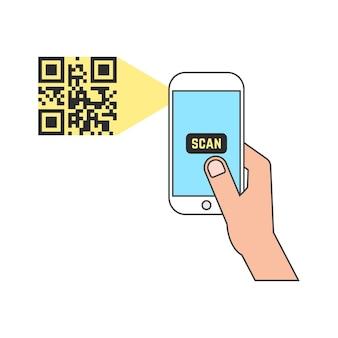 Zarys inteligentnego telefonu skanowania kodu qr. koncepcja e-commerce, gadżet, odczyt kodu kreskowego, mobilność, generowanie aplikacji, kodowanie. na białym tle. płaski trend w nowoczesnym stylu ilustracji wektorowych
