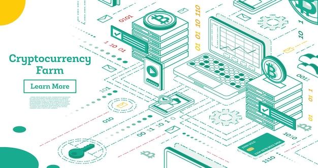 Zarys izometrycznej farmy kryptowalut. serwery górnicze. ilustracja wektorowa. platforma blockchain tworzenie waluty cyfrowej.