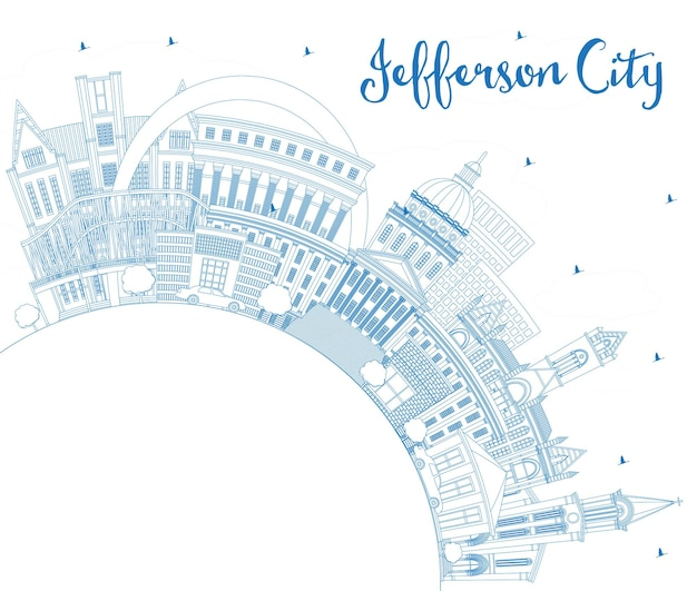 Zarys jefferson city missouri skyline z niebieskimi budynkami i przestrzenią do kopiowania. ilustracja wektorowa. podróże służbowe i koncepcja turystyki z zabytkową architekturą. pejzaż miejski jefferson z atrakcjami