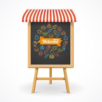 Zarys koncepcji piekarni na tablicy