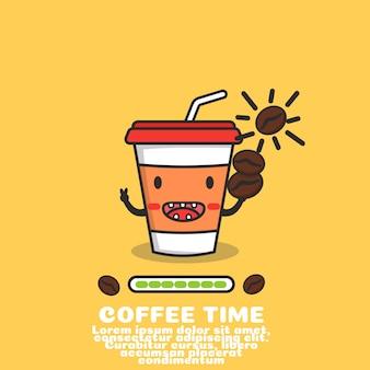 Zarys kreskówka kubek kawy. naładuj energię,