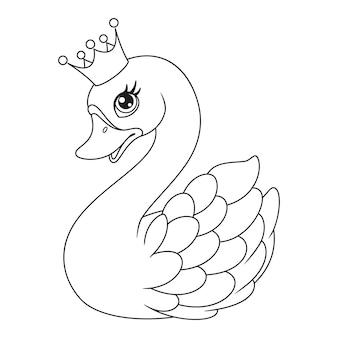 Zarys księżniczka łabędzia z koroną kolorowanki ilustracja wektorowa kreskówka