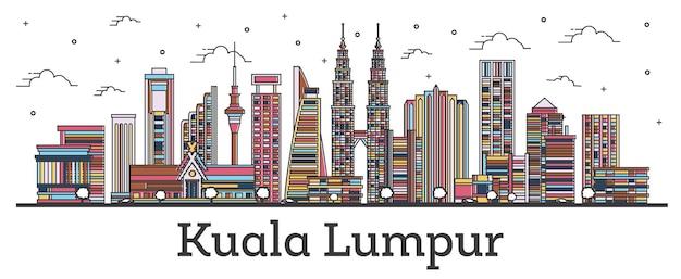 Zarys kuala lumpur malezja panoramę miasta z kolorowymi budynkami na białym tle. ilustracja wektorowa. gród kuala lumpur z zabytkami.